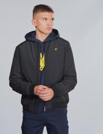 Lyle & Scott, Wadded Bomber Jacket, Svart, Jakker/Fleece för Gutt, 10-11 år