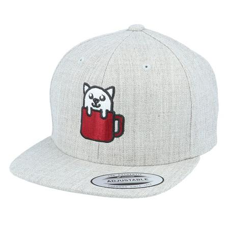 Kiddo Cap Snapback Kinder Cap Grau @ Hatstore | Cap Kids Cat In Mug Heather Grey Snapback Kiddo Cap Grau