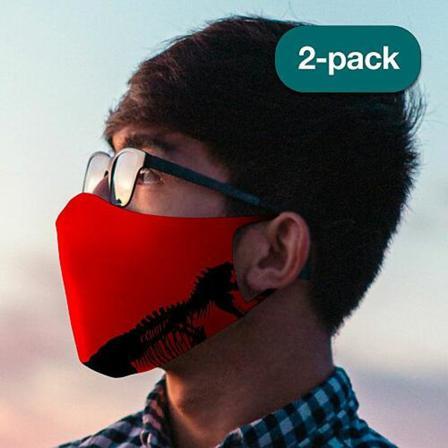 2-pack Tvättbar Ansiktsmask, Munskydd - Tiny Dino