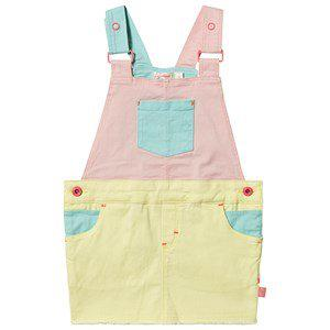 Billieblush Color Block Denim Overalls Dress Yellow/Pink/Teal