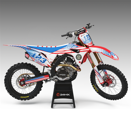 Complete 24MX Patriotic decal kit and number plates. Finnish Flag -Sherco 300 SEF 2014-2016
