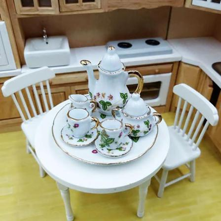 8pcs/set 1:12 Dollhouse Miniature Dining Ware Porcelain Tea Dish A1