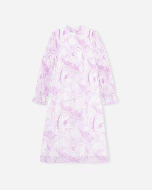 Pleated Georgette Klänning Rosa | GANNI