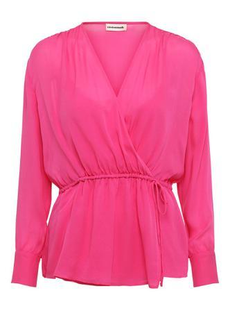 Custommade Blusar Dam Blouses Viola Pink Glo Silke Size 34 Rosa
