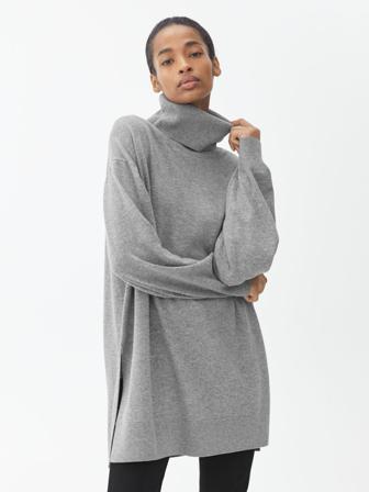 ARKET - Women Oversized Merino Roll Neck - Grey - Size L