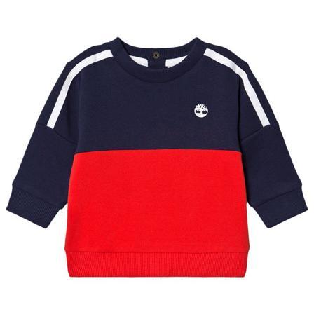 Timberland Navy and Red Contrast Tree Logo Sweatshirt