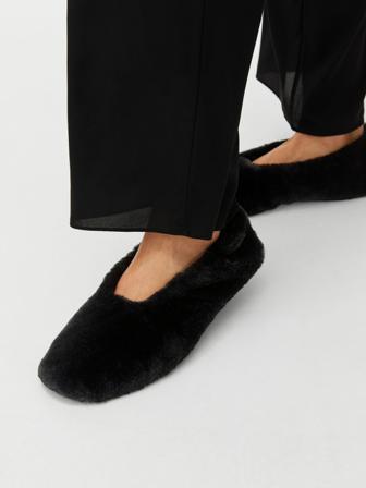 ARKET - Faux Fur Slippers - Black - Women - Size 41