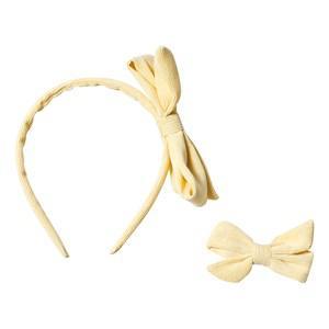 Ciao Charlie Corduroy Hair Bow & Headband Set Yellow