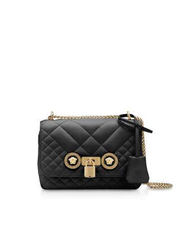 Versace Väskor Dam Shoulder Bags Women's Leather Bag Läder Svart