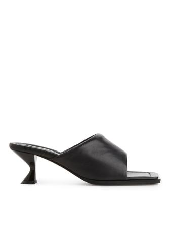 Mid-Height Leather Mules - Black