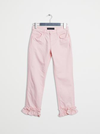 J Brand Smala Jeans Dam Slim Hedges Ruffled Cropped Pink Bomull Size 29 Rosa