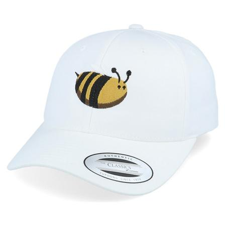 Iconic Adjustable Cap White @ Hatstore | Cap Chubby Bee White Curved Adjustable Iconic
