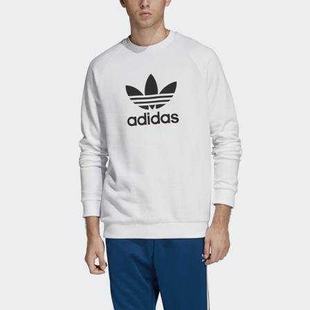 adidas Sweatshirt Herr Sweatshirts sweatshirts trefoil warm-up crew sweatshirt bomull size small Bomull Vit