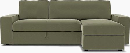 IKEA - Vilasund sofa bed with chaise sofa cover, Sage, Velvet - Bemz