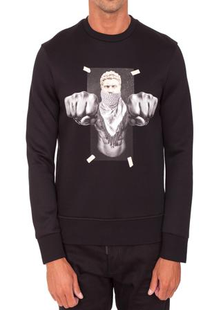Neil Barrett Skjortor Herr Sweatshirts Men's Cotton Sweatshirt Bomull Size Small Svart