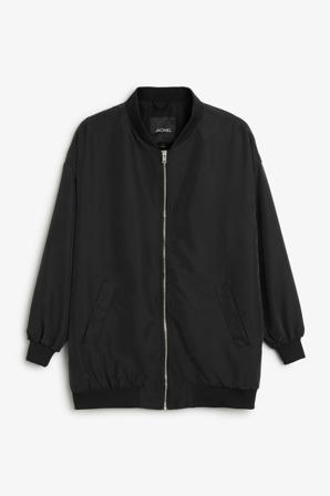 Monki Jackor Dam Jackets Alison Bomber Jacket Black Modal/polyester Size Medium Svart