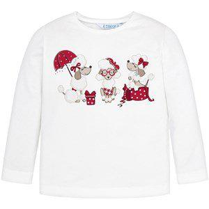Mayoral Poodle Long Sleeve Tee White and Red
