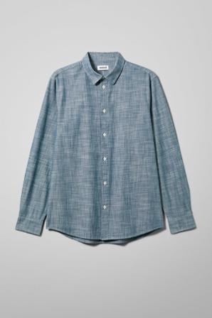 Weekday Skjortor Herr Casual Lead Chambray Shirt Blue Ekologiskt Bomull Size Small Blå