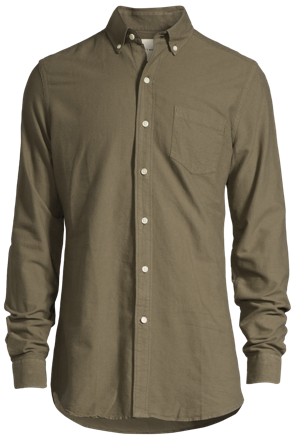 A Day's March Skjortor Herr Casual Dyed Oxford Custom Fit Button Down X-Long Army Bomull Size 39
