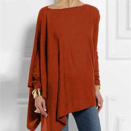 Loose Shirts Solid Color Long Sleeve Pullover Tops Casual Women R L