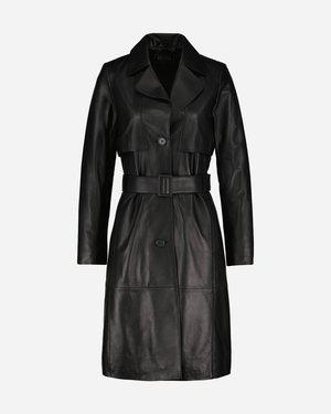 Jill Leather Trench Kappa Black | Jofama
