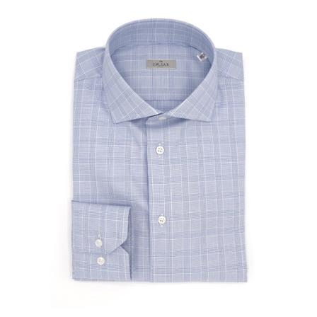 J.w.sax Milano, Classic slim fit shirt Blauw, Heren, Maat:44