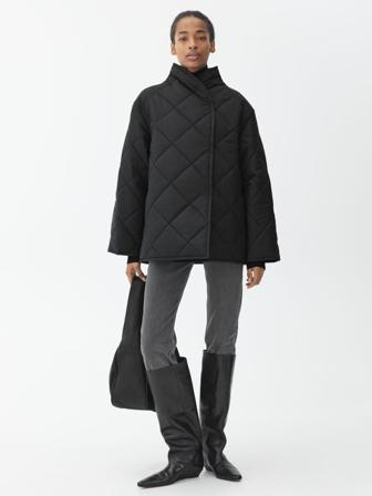 ARKET - Women's Quilted Shawl Collar Jacket - Black - Size M